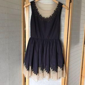 Kate Moss Topshop fit n flare blue & tan dress